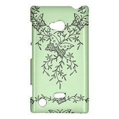 Illustration Of Butterflies And Flowers Ornament On Green Background Nokia Lumia 720