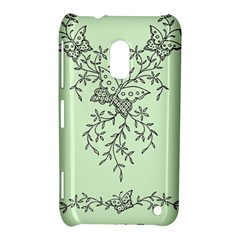 Illustration Of Butterflies And Flowers Ornament On Green Background Nokia Lumia 620