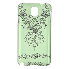 Illustration Of Butterflies And Flowers Ornament On Green Background Samsung Galaxy Note 3 N9005 Hardshell Case