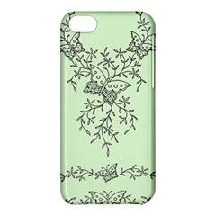 Illustration Of Butterflies And Flowers Ornament On Green Background Apple iPhone 5C Hardshell Case