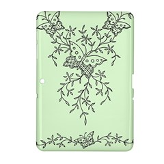 Illustration Of Butterflies And Flowers Ornament On Green Background Samsung Galaxy Tab 2 (10 1 ) P5100 Hardshell Case