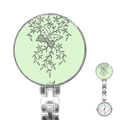 Illustration Of Butterflies And Flowers Ornament On Green Background Stainless Steel Nurses Watch
