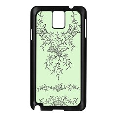 Illustration Of Butterflies And Flowers Ornament On Green Background Samsung Galaxy Note 3 N9005 Case (Black)