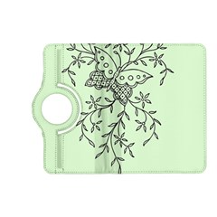 Illustration Of Butterflies And Flowers Ornament On Green Background Kindle Fire Hd (2013) Flip 360 Case