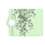 Illustration Of Butterflies And Flowers Ornament On Green Background Kindle Fire HD (2013) Flip 360 Case Front