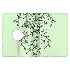 Illustration Of Butterflies And Flowers Ornament On Green Background Kindle Fire HDX Flip 360 Case
