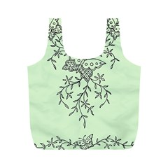 Illustration Of Butterflies And Flowers Ornament On Green Background Full Print Recycle Bags (M)