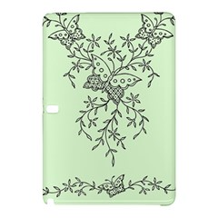 Illustration Of Butterflies And Flowers Ornament On Green Background Samsung Galaxy Tab Pro 12.2 Hardshell Case