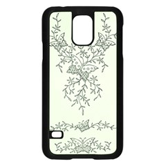 Illustration Of Butterflies And Flowers Ornament On Green Background Samsung Galaxy S5 Case (Black)