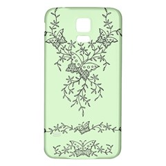 Illustration Of Butterflies And Flowers Ornament On Green Background Samsung Galaxy S5 Back Case (White)