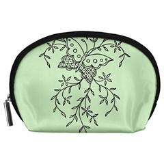 Illustration Of Butterflies And Flowers Ornament On Green Background Accessory Pouches (Large)