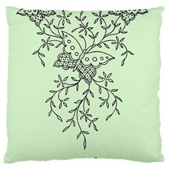 Illustration Of Butterflies And Flowers Ornament On Green Background Large Flano Cushion Case (one Side)