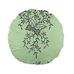 Illustration Of Butterflies And Flowers Ornament On Green Background Standard 15  Premium Flano Round Cushions