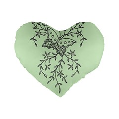 Illustration Of Butterflies And Flowers Ornament On Green Background Standard 16  Premium Flano Heart Shape Cushions