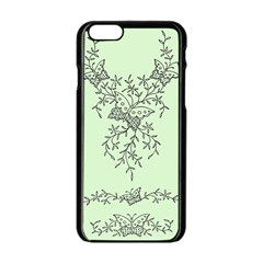 Illustration Of Butterflies And Flowers Ornament On Green Background Apple Iphone 6/6s Black Enamel Case