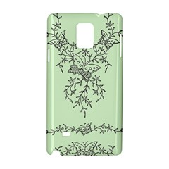 Illustration Of Butterflies And Flowers Ornament On Green Background Samsung Galaxy Note 4 Hardshell Case
