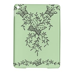 Illustration Of Butterflies And Flowers Ornament On Green Background Ipad Air 2 Hardshell Cases