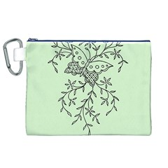 Illustration Of Butterflies And Flowers Ornament On Green Background Canvas Cosmetic Bag (XL)