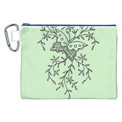 Illustration Of Butterflies And Flowers Ornament On Green Background Canvas Cosmetic Bag (XXL)