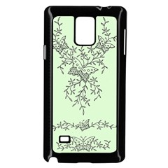 Illustration Of Butterflies And Flowers Ornament On Green Background Samsung Galaxy Note 4 Case (Black)