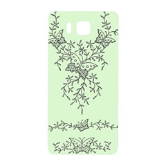 Illustration Of Butterflies And Flowers Ornament On Green Background Samsung Galaxy Alpha Hardshell Back Case