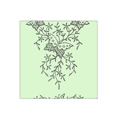 Illustration Of Butterflies And Flowers Ornament On Green Background Satin Bandana Scarf