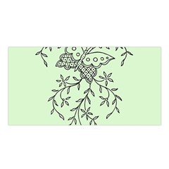 Illustration Of Butterflies And Flowers Ornament On Green Background Satin Shawl