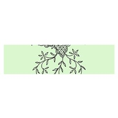 Illustration Of Butterflies And Flowers Ornament On Green Background Satin Scarf (oblong)