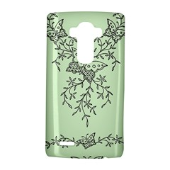 Illustration Of Butterflies And Flowers Ornament On Green Background LG G4 Hardshell Case