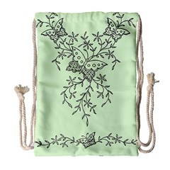 Illustration Of Butterflies And Flowers Ornament On Green Background Drawstring Bag (Large)