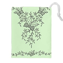 Illustration Of Butterflies And Flowers Ornament On Green Background Drawstring Pouches (XXL)