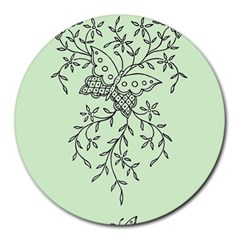 Illustration Of Butterflies And Flowers Ornament On Green Background Round Mousepads