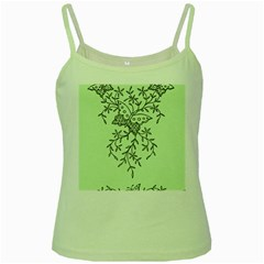 Illustration Of Butterflies And Flowers Ornament On Green Background Green Spaghetti Tank
