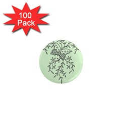Illustration Of Butterflies And Flowers Ornament On Green Background 1  Mini Magnets (100 Pack)