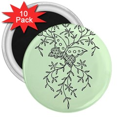 Illustration Of Butterflies And Flowers Ornament On Green Background 3  Magnets (10 Pack)