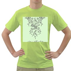 Illustration Of Butterflies And Flowers Ornament On Green Background Green T-Shirt
