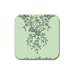 Illustration Of Butterflies And Flowers Ornament On Green Background Rubber Square Coaster (4 pack)