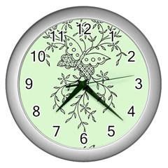 Illustration Of Butterflies And Flowers Ornament On Green Background Wall Clocks (silver)