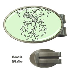Illustration Of Butterflies And Flowers Ornament On Green Background Money Clips (Oval)