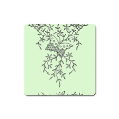 Illustration Of Butterflies And Flowers Ornament On Green Background Square Magnet