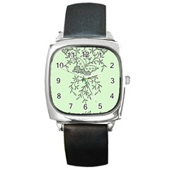 Illustration Of Butterflies And Flowers Ornament On Green Background Square Metal Watch