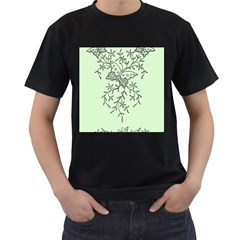 Illustration Of Butterflies And Flowers Ornament On Green Background Men s T-Shirt (Black) (Two Sided)