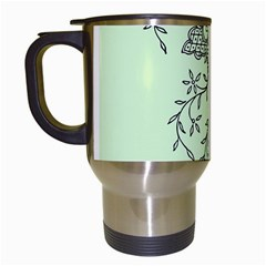 Illustration Of Butterflies And Flowers Ornament On Green Background Travel Mugs (White)
