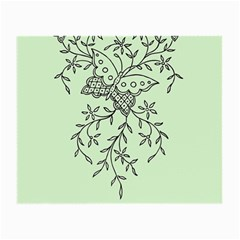 Illustration Of Butterflies And Flowers Ornament On Green Background Small Glasses Cloth