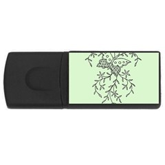 Illustration Of Butterflies And Flowers Ornament On Green Background USB Flash Drive Rectangular (4 GB)
