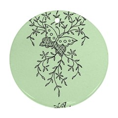 Illustration Of Butterflies And Flowers Ornament On Green Background Round Ornament (two Sides)
