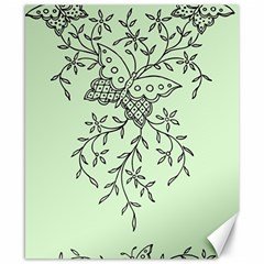 Illustration Of Butterflies And Flowers Ornament On Green Background Canvas 8  X 10