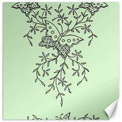Illustration Of Butterflies And Flowers Ornament On Green Background Canvas 16  x 16