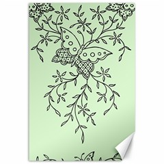 Illustration Of Butterflies And Flowers Ornament On Green Background Canvas 24  X 36