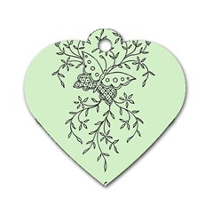 Illustration Of Butterflies And Flowers Ornament On Green Background Dog Tag Heart (One Side)